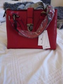 Nicole and Doris Red Pattern Bag - New with dust cover!