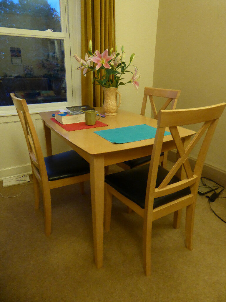 Wooden Dining Table 3 Chairs