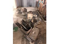 Mixed commercial pots and pans