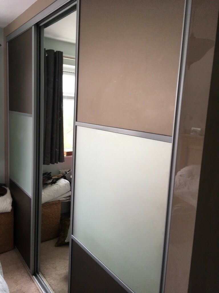 Fitted Wardrobe 3 Sliding Mirror Coloured Glass Doors In Poole