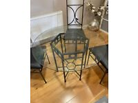 4 Seat Glass Dining Table and Chairs Set