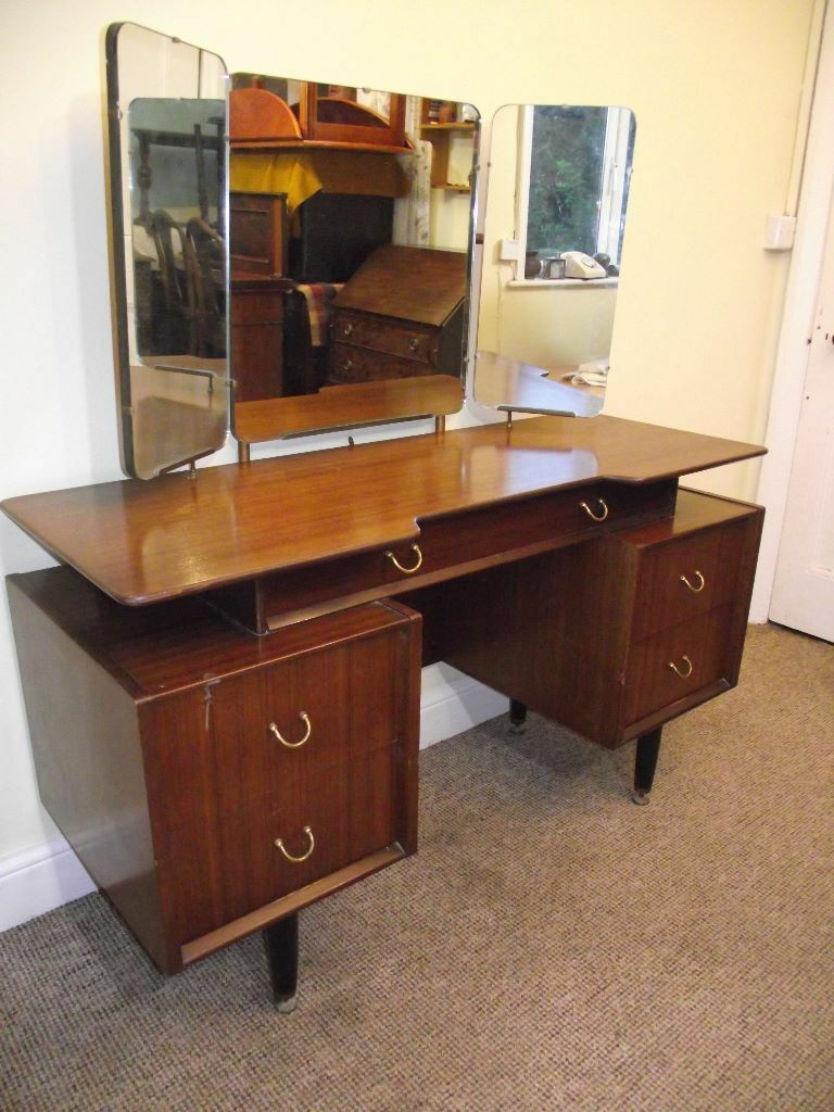 Retro 1960 39 s teak dressing table with 5 drawers 3 for Retro dressing table