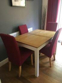Dining table wooden cream legs