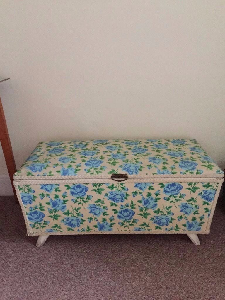 Vintage Rose Printed Ottomanin Hull, East YorkshireGumtree - Gorgeous rose print Vintage blanket box. In great condition. Only selling due to moving abroad. Blue and cream design, perfect for a guest room and bedding storage. Could potentially deliver to local area to Hull and surrounding villages