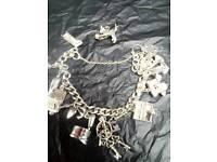 Solid Silver 1970s Charm Bracelet