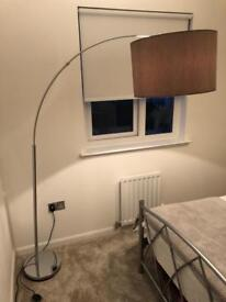 Grey large curve arm floor lamp