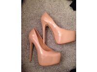 Beige high heel shoes size 5 worn once