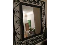 Large Black Brushed Metal Mirror