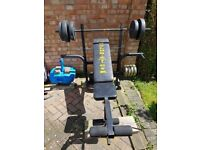 GOLDS GYM BENCH & WEIGHTS