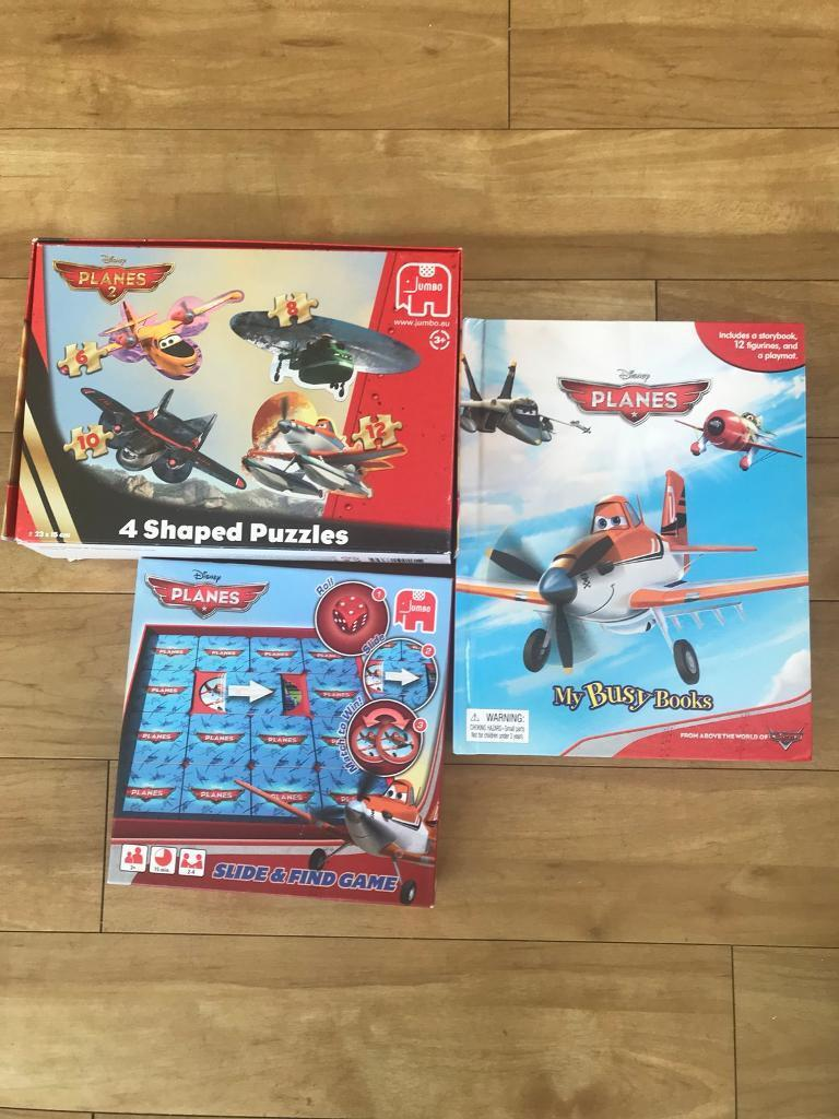 Planes jigsaw, slide and hide games and busy book set