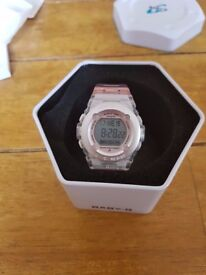 Baby-G Casio Watch with a pink transparent strap.