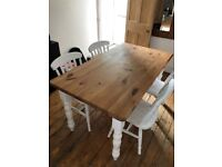 Rustic farmhouse style solid pine dining table and 4 chairs