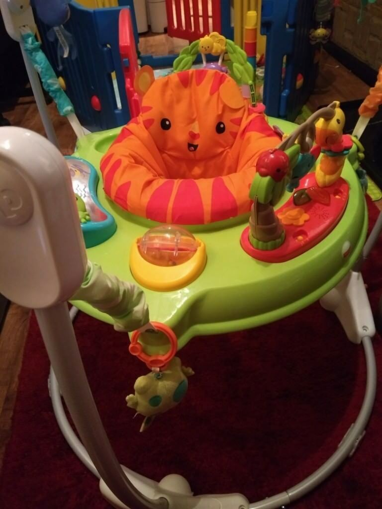 d3fac851edc2 Fisher Price Roarin  Rainforest Jumperoo - Baby Bouncer - Activity ...