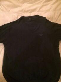 GANT Mens Navy V-Neck Cotton Jumper / Sweater Size - X Large