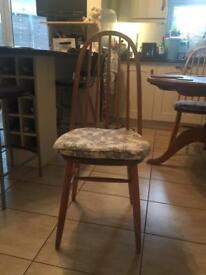 4 vintage collectible Ercol dining chairs