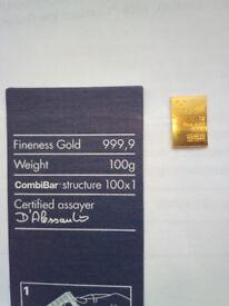 1 Gram Gold Bullion Bar Philoro 999.9 Purity 24ct Austrian Mint