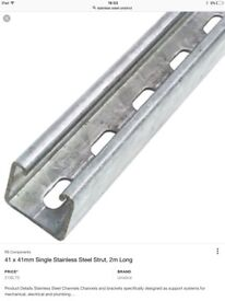 Stainless Steel slotted Unistrut/ channel 3m lengths