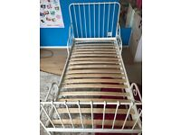 Kids white metal bed and mattress £30