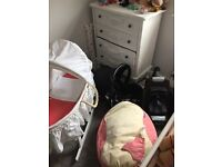 Car seat, base Moses basket and bean bag
