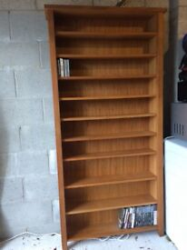 Solid wood shelving unit for DVDS and CDs