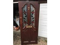 Wooden Front Door with glass floral design