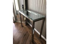 Genoa Glass / Brushed Steel Console or Side Display Table