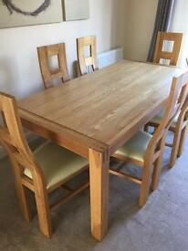 Dining table and chairs, sideboard