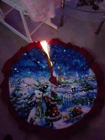 Snowman fibre optic tree skirt in box