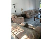LARGE THREE SEATER SETTEE / TWO CHAIRS / FOOTSTOOL
