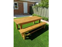 Rustic distressed Pine Dining Table and matching Bench