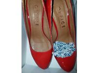 NEW 'Office' Red Pewter Leather Shoes Size 39