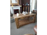 Rustic coffee table ' made from driftwood & reclaimed wood ' finished in antiqe pine !