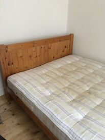 King size pine bed frame plus mattress if you want