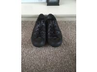 Black Leather Converse Size 4
