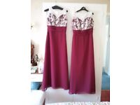 Two bridesmaid dresses size 8 and12 maroon &lacetrim £80 each
