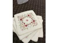"""brand new embroidered off-white sofa cushions (5) standard 18"""" PRP £40 wow deal"""