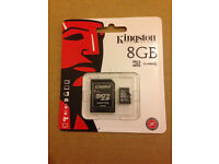 GENUINE KINGSTON 8GB CLASS 10 MICRO SDHC MEMORY CARD WITH SD ADAPTER HC UHS 1 (Min Order 5pcs)