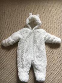 0-3 white fluffy pram/snow suit