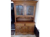 Solid Oak Dining room Display Cabinet with lighting