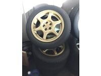"16"" GOLD ALLOY SET FOR SUBARU WRX STI CLASSIC WITH BRAND NEW TYRES"