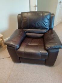 Dark Brown Leather Reclining Chair