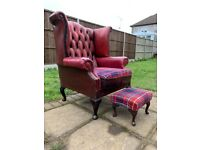 Chesterfield / Queen Anne Style Oxblood Leather Wingback Armchair & Footstool Antique Vintage