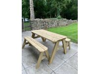Picnic table Garden table with matching benches (heavy duty)
