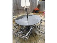 Garden table and 6 chairs meanie /granite