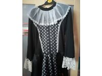 Black and white witches dress with broom and buckets Fancy Dress Costume Ladies