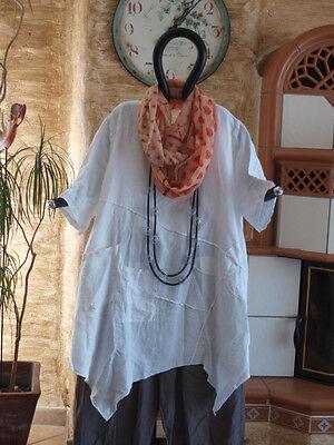 8199 LABASS Sommer 2016 Kurzarm Leinen Big Shirt FLOWER weiß weiss XL 48 50