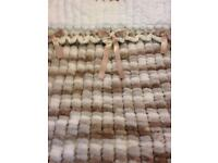 Hand knitted baby's pram or crib blanket bigger size knitted in Pom Pom wool with matching ribbons