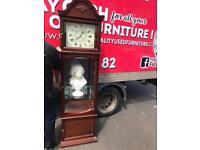 Tall mahogany wood mirrored back grandfather clock £75 perfect time keeper