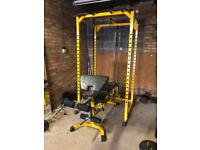Complete Garage Gym setup Bodymax Rack with Pulleys Benches Bars & Weights