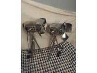 Vintage chrome tripod theatre/stage light X 2